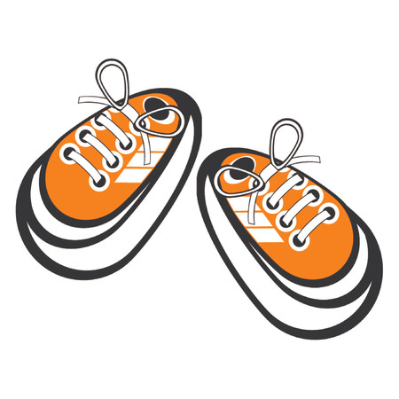 Tied sneakers. Cartoon sport shoes over white background.