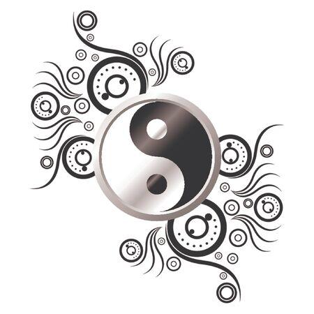shui: Simbolo di Yin e Yang e decorato con pattern astratti su sfondo bianco