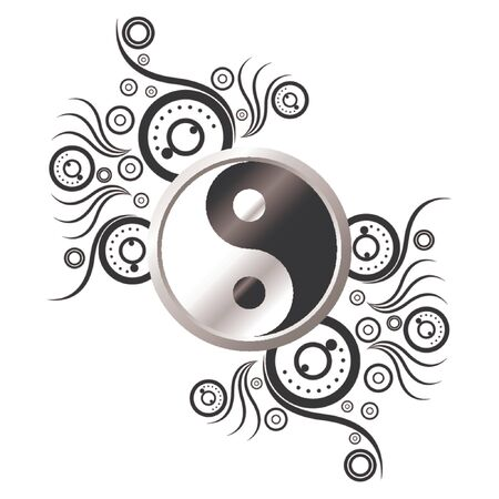 shui: Yin and Yang symbol ornamented with abstract pattern over white background