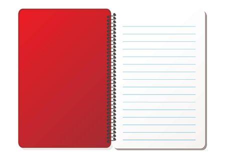 cuaderno espiral: Abierto espiral con hojas dictamin� sobre fondo blanco Vectores