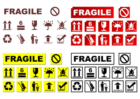 Safety symbols in different colors sets Illustration