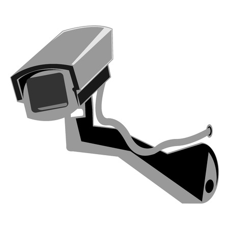 Exterior surveillance camera over white background