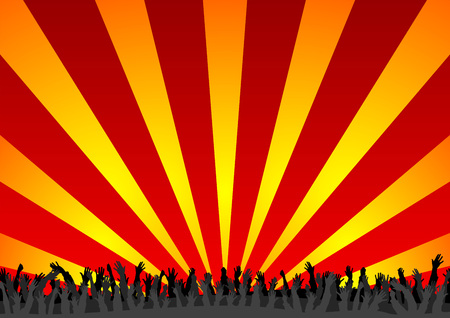 Concert crowd with arms up over colorful background Illustration