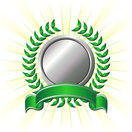 conquistando: Cinta, decorado con corona de laurel sobre fondo de rayas  Vectores