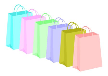Shopping bags row with different colors over white background Vector