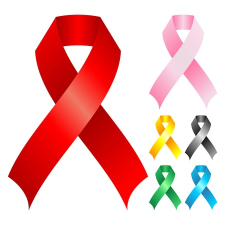 aids: Support ribbons with different colors over white background Illustration