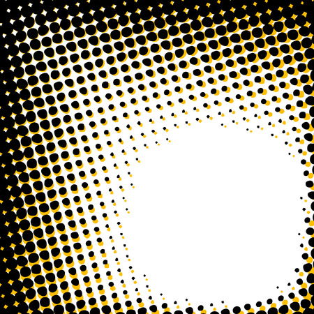 duotone: Black and yellow grunge halftone pattern with copy space over white background Illustration