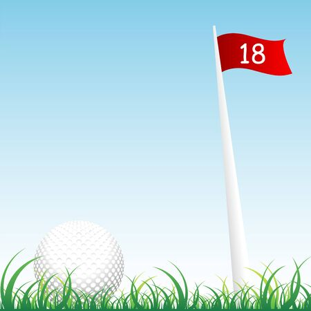 golf flag: Golf ball on the grass with flag and pole of hole number eighteen Illustration