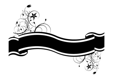 ornamented: Black ribbon ornamented with flowers over white background Illustration