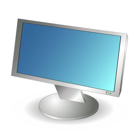 LCD computer wide monitor isolated over white background Vector