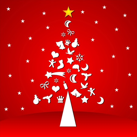 Christmas tree with season symbols over red background Vector
