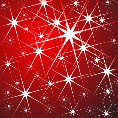 festive: Christmas pattern made with stars over red gradient background