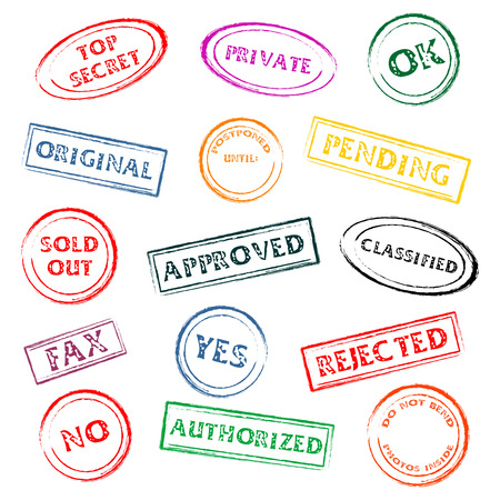 postponed: Colorful post or office marks isolated over white background Illustration