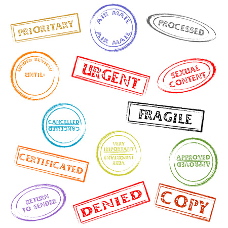 certificated: Colorful post or office marks isolated over white background Illustration