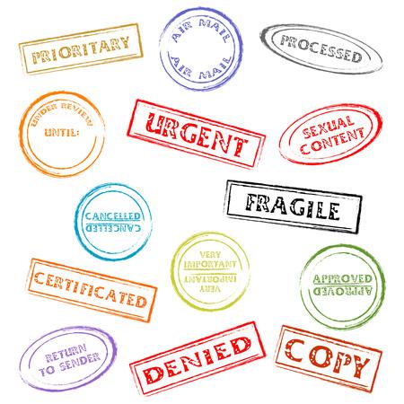 autorizacion: Colorido oficina de correo o marcas aislado m�s de fondo blanco  Vectores