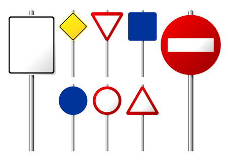 Blank traffic signs isolated over white background Vector