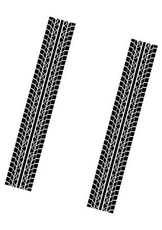 brake: Tyre tracks pattern isolated over white background