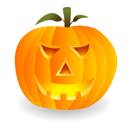 hollows: Jack-o-lantern. Halloween pumpkin isolated over white background
