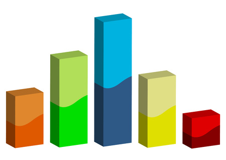 population growth: 3D graphic bars with different colors and sizes isolated over white background