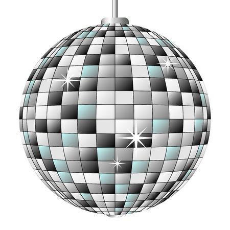 mirror ball: Disco espejo pelota aislados sobre fondo blanco  Vectores
