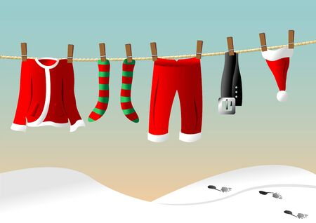 Santa Claus suit hanged on a clothes line Illustration