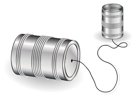 communication metaphor: Tin can phone isolated over white background Illustration