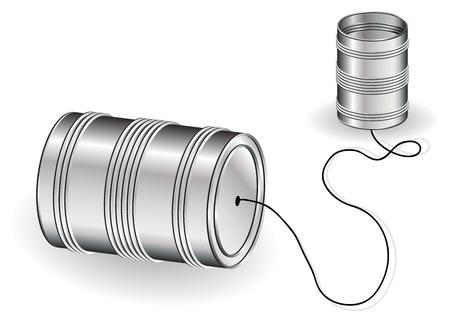 Tin kan telefoon geïsoleerde over witte achtergrond