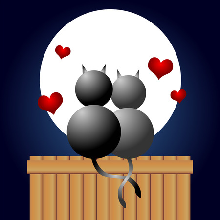 wedding night: Couple of cats in love under the moonlight Illustration