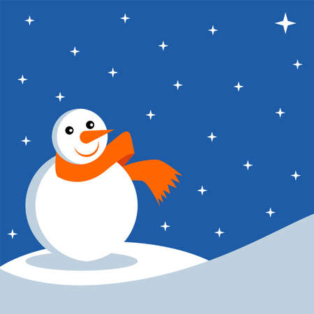 Snowman over blue starry sky background Stock Vector - 1829719