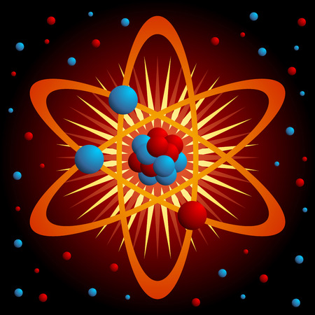 vector nuclear: Atom symbol over a very dark red background