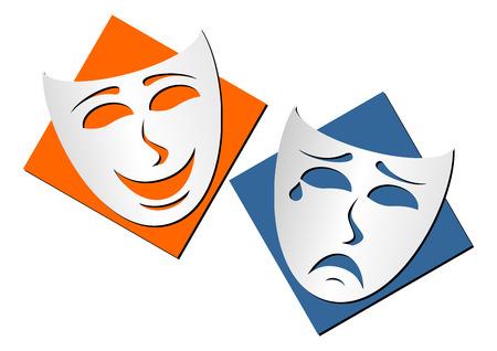 Máscaras en representación de teatro de comedia y drama sobre fondo blanco  Foto de archivo - 1858443