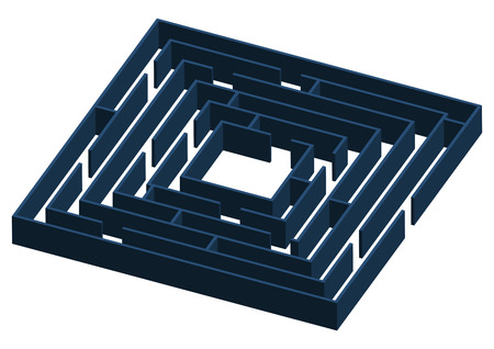 tridimensional: Tridimensional blueish labyrinth walls over white background