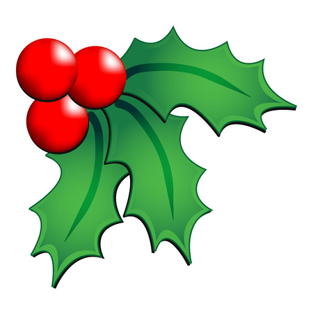Christmas holly ornament over white background