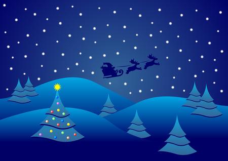 Christmas night with Santa on his sledge