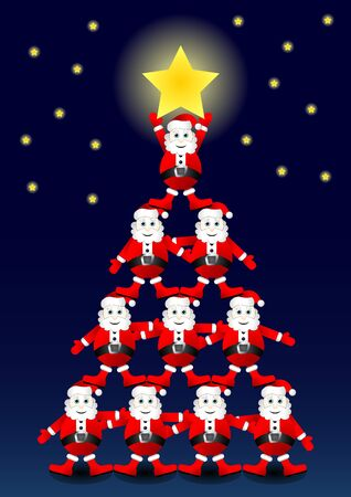 Many Santas on top of each other forming a christmas tree Vector