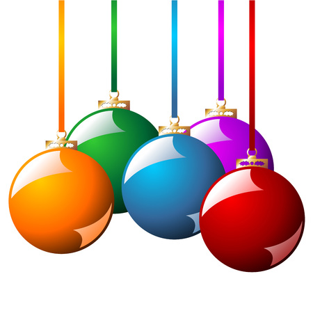 Christmas balls with ribbons in different colors isolated over white background Vector