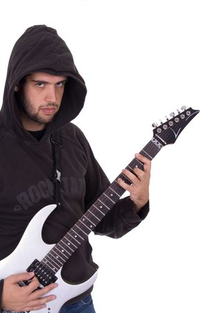 Young electric guitar player with his head cover over white background Stock Photo - 1888395