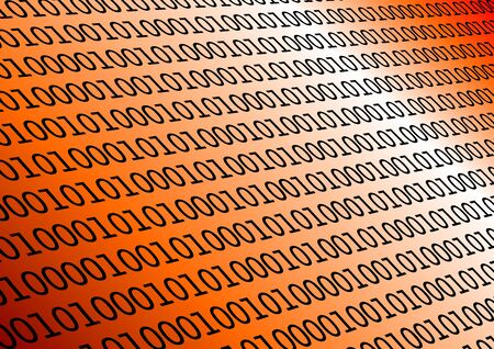 Background with binary data and gradient orange colors photo