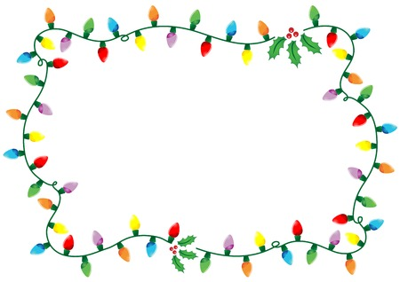 Frame made of Christmas lights and holly over white background