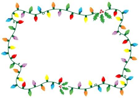 luces navidad: Marco de luces de Navidad y acebo m�s de fondo blanco