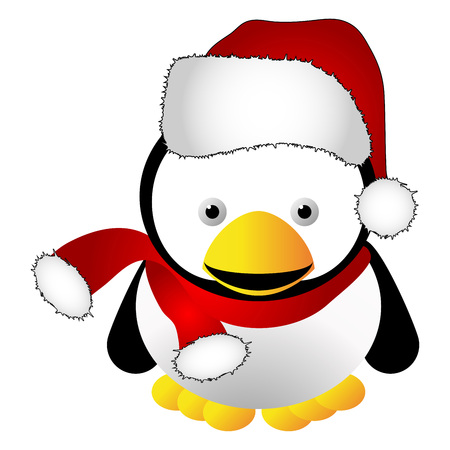 Penguin with santas cap isolated over white background