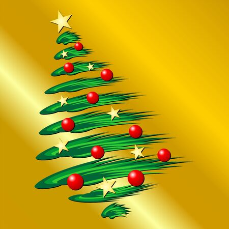 Christmas tree over gold grandient background Stock Vector - 1934427