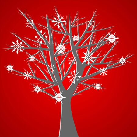 Naked tree over red background with snow crystals Vector