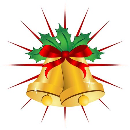christmas bells: Christmas bells ornamented with holly and ribbon
