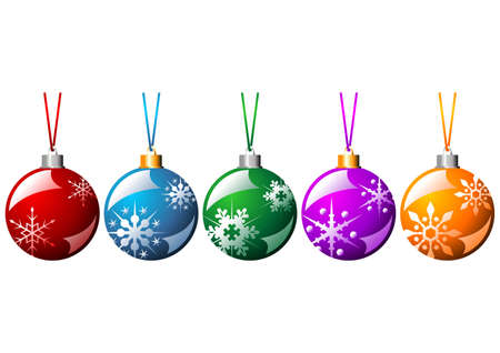 Ornamented Christmas balls with ribbons in different colors isolated over white background photo