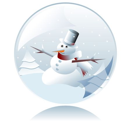 Christmas snowman inside crystal ball over white background photo