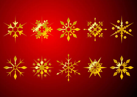 Different golden snow crystals over red background