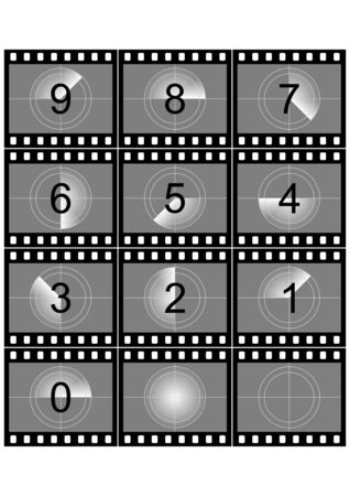 simulation: Simulation of a film strip countdown in black and white