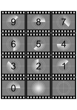 esporre: Simulazione di un conto alla rovescia striscia di pellicola in bianco e nero