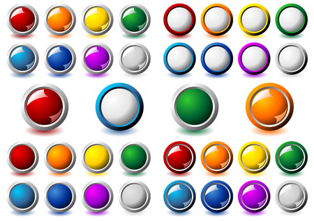 Suit of interface round buttons with different colors and metallic frame over white background Vector